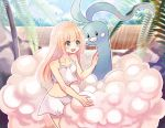 1girl altaria blonde_hair creatures_(company) game_freak gen_3_pokemon green_eyes kazuru_wa lillie_(pokemon) nintendo pokemon pokemon_(anime) pokemon_sm_(anime) sarong swimsuit