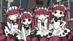 >_< 4girls :d apron bangs black_dress blunt_bangs blush bonnet clenched_hands clone closed_eyes dress eyebrows_visible_through_hair facing_viewer hair_ribbon hands_on_hips highres hime_cut kemurikusa looking_at_viewer multiple_girls open_mouth pink_ribbon rectangular_mouth red_eyes redhead ribbon rina_(kemurikusa) short_hair sleeping sleeveless sleeveless_dress smile streetcar_interior tree_trunk triangle_mouth tsukumizu_yuu twintails