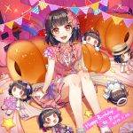 0_0 1girl :d back_bow bang_dream! bangs baseball_cap bass_guitar black_hair blue_ribbon bow bracelet cat_ear_headphones character_doll character_name chocolate_cornet commentary_request dated dress earrings english_text flower food frilled_legwear frills hair_bow hair_flaps hair_flower hair_ornament hairband halo hand_on_own_knee happy_birthday hat headphones highres instrument jewelry mujun_atama neck_ribbon open_mouth pink_dress pink_flower pink_rose purple_neckwear rainbow red_eyes ribbon rose short_hair sitting smile solo sparkle star string_of_flags striped twitter_username ushigome_rimi vertical-striped_dress vertical_stripes white_legwear