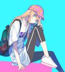 1boy androgynous backpack bag baseball_cap blonde_hair blue_eyes earrings hat hebino_rai jewelry leggings male_focus midare_toushirou shirt shoes sitting sneakers t-shirt touken_ranbu