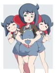 1girl bangs black_shirt blue_hair border bow closed_eyes constanze_amalie_von_braunschbank-albrechtsberger feet_out_of_frame green_eyes hair_bow hands_together index_finger_raised little_witch_academia multiple_views open_mouth overall_shorts overalls popopo red_bow shirt short_sleeves smile solo waving white_border