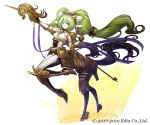 1girl armor blue_eyes breasts brown_footwear brown_gloves centaur company_name dougan_calpis_con elbow_gloves full_body gloves green_hair hair_ornament headpiece holding_lance index_finger_raised iolite_link lance long_hair looking_at_viewer medium_breasts official_art polearm simple_background smile solo standing tail twintails very_long_hair weapon