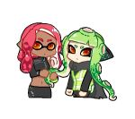 2girls artist_request bangs closed_mouth dark_skin domino_mask holding holding_hair inkling long_hair long_sleeves looking_at_viewer lowres mask multiple_girls octarian octoling pointy_ears redhead simple_background splatoon splatoon_(series) splatoon_2 splatoon_2:_octo_expansion squidbeak_splatoon suction_cups tentacle_hair vest white_background yellow_eyes yellow_vest