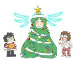 1girl 2boys :d angel_wings christmas_lights christmas_ornaments christmas_sweater christmas_tree dark_pit emoji flannel frown halo kid_icarus nintendo open_mouth pajamas palutena smile super_smash_bros. super_smash_bros._ultimate super_smash_bros_brawl super_smash_bros_for_wii_u_and_3ds sweat weeeeps wings