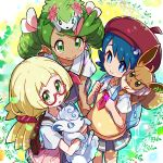 3girls alolan_form alolan_vulpix backpack bag beret blonde_hair blue_eyes blue_hair blush_stickers commentary_request creatures_(company) dark_skin drill_hair eevee game_freak gen_1_pokemon gen_4_pokemon gen_7_pokemon glasses green_eyes green_hair grey_skirt hair_ornament hand_on_own_knee hat highres holding holding_pokemon kingin lillie_(pokemon) long_hair looking_at_viewer mao_(pokemon) multiple_girls nintendo open_mouth pleated_skirt pokemon pokemon_(anime) pokemon_(creature) pokemon_on_head pokemon_on_shoulder pokemon_sm_(anime) ponytail popplio red-framed_eyewear red_headwear sailor_collar school_bag school_uniform semi-rimless_eyewear serafuku shaymin shirt short_hair short_sleeves skirt smile suiren_(pokemon) twin_drills twintails under-rim_eyewear vulpix white_sailor_collar white_shirt