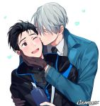 2boys ;d aqua_jacket artist_name black_hair black_neckwear blush bottle brown_eyes brown_gloves cheek_kiss closed_eyes commentary_request eyebrows_visible_through_hair formal gearous gloves grey_hair gym_uniform hair_slicked_back hand_on_another's_arm happy heart holding holding_bottle jacket katsuki_yuuri kiss long_sleeves looking_at_another male_focus multiple_boys necktie one_eye_closed open_mouth round_teeth short_hair simple_background smile standing suit sweat sweatdrop teeth upper_body upper_teeth viktor_nikiforov water_bottle white_background yaoi yuri!!!_on_ice