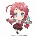 1girl absurdres ahoge black_footwear black_skirt blue_eyes chibi commentary_request cup food full_body hair_ribbon highres kneehighs long_hair long_sleeves low_ponytail menu minamoto_sakura official_art plaid_neckwear polka_dot_ribbon redhead ribbon shirt shortcake skirt solo strawberry_shortcake teacup tray waitress white_background white_shirt zombie_land_saga
