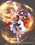 1girl blue_eyes blue_hair book cape dress fire fire_emblem fire_emblem:_fuuin_no_tsurugi fire_emblem_cipher full_body gloves hat jewelry lilina long_hair magic nintendo official_art open_mouth pantyhose simple_background solo wada_sachiko