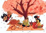 aida_kaiko animal bald basket battle beard blanket blue_hair bottle bowl cherry_blossoms chinese_clothes commentary cup dragon_ball dragon_ball_(classic) drinking facial_hair fighting_stance floating food hair_ribbon hairband hanami happy kuririn looking_away lunch_(dragon_ball) muten_roushi nyoibo obentou open_mouth petals plate profile red_hairband red_ribbon ribbon shadow simple_background sitting smile son_gokuu sunglasses symbol_commentary tree turtle umigame_(dragon_ball) v-shaped_eyebrows white_background