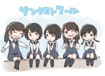 5girls :3 :o ;d bangs black_footwear black_legwear blue_dress blush_stickers braid brown_hair collared_shirt crossed_arms double_v dress frown group_name hori_miona kitano_hinako long_hair long_sleeves looking_at_viewer multiple_girls nakada_kana nakamoto_himeka nogizaka46 one_eye_closed open_mouth outstretched_arms pinafore_dress ponytail shirt short_hair sitting_on_wall smile socks spread_arms taneda_yuuta terada_ranze twin_braids v white_shirt