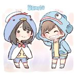 2girls ^_^ akb48 bangs bird_hood black_hair blue_capelet blue_jacket blue_shorts blush bow bowtie brown_hair capelet character_hood character_name character_request chibi closed_eyes closed_eyes commentary_request copyright_name fish_hood grin gym_shorts hat hood hood_up hooded_capelet hooded_jacket jacket long_hair long_sleeves mole mole_under_mouth multiple_girls murayama_yuiri okada_nana real_life red_neckwear sailor_hat sanrio shirt short_hair shorts smile socks standing taneda_yuuta white_legwear yellow_shirt