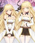1girl aurora_(f10)_(azur_lane) azur_lane bangs bare_shoulders belt blonde_hair blush bow bowtie breasts brown_skirt cherry_blossoms cherrybell cleavage closed_mouth detached_collar detached_sleeves dress eyebrows_visible_through_hair green_eyes hair_flaps hair_ornament hair_ribbon hand_up lace-trimmed_sleeves large_breasts long_hair long_sleeves looking_at_viewer multiple_belts open_mouth pleated_skirt purple_neckwear ribbon skirt smile thigh-highs very_long_hair white_legwear