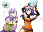 2girls alternate_costume animal_ears arms_up bare_shoulders belt black_gloves blue_hair breasts cleavage drooling easter_egg egg elbow_gloves fake_animal_ears fingerless_gloves fire_emblem fire_emblem:_akatsuki_no_megami fire_emblem:_souen_no_kiseki fire_emblem_heroes flower gloves green_eyes green_shirt hair_flower hair_ornament hairband holding ilyana kura_(okura_eekura) long_hair medium_breasts multiple_girls nintendo open_mouth parted_lips purple_hair purple_skirt rabbit_ears shirt simple_background skirt violet_eyes wayu_(fire_emblem) white_background white_hairband