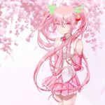 1girl breasts cherry_blossoms commentary_request detached_sleeves hair_between_eyes hair_ornament hatsune_miku long_hair looking_at_viewer medium_breasts necktie pink_eyes pink_hair pink_neckwear pleated_skirt ribbon sakura_miku shirt skirt smile solo standing thigh-highs twintails very_long_hair vocaloid white_shirt wuyinmingyue yellow_ribbon