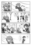 6+girls akebono_(kantai_collection) blush comic commentary_request cowboy_shot full_body hatsuharu_(kantai_collection) hatsushimo_(kantai_collection) highres kantai_collection kasumi_(kantai_collection) long_hair mogami_(kantai_collection) monochrome multiple_girls okinami_(kantai_collection) open_mouth otoufu ponytail punching school_uniform serafuku short_hair side_ponytail standing sweater translation_request tree upper_body wind