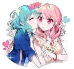 2girls :t ^_^ bang_dream! bangs blue_shirt bow bracelet cheek_kiss closed_eyes closed_eyes doily floral_print frills frown hair_bow heart hikawa_hina jewelry kiss kongya long_hair maruyama_aya multiple_girls pendant pink_eyes pink_hair plaid plaid_shirt shirt short_hair side_braids sparkle sweatdrop upper_body yuri