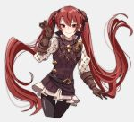 1girl belt black_legwear brown_gloves closed_mouth fire_emblem fire_emblem_if gloves grey_background hair_ribbon long_hair long_sleeves luna_(fire_emblem_if) nintendo pikapika_hoppe red_eyes redhead ribbon simple_background smile solo twintails