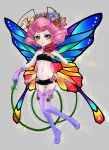 1girl absurdres breasts bug butterfly flower hair_flower hair_ornament highres insect medium_hair midriff navel original peiyu_zhou pink_hair small_breasts smile solo yellow_eyes