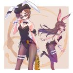 2girls :d animal_ears arm_garter ass ass_visible_through_thighs bare_shoulders beret bow bowtie breasts brown_eyes brown_hair brown_legwear bunny_tail coco_adel contrapposto detached_collar hat highres iesupa jewelry leg_garter leotard long_hair looking_at_viewer multiple_girls necklace open_mouth pantyhose rabbit_ears rwby short_hair small_breasts smile standing standing_on_one_leg sunglasses tail velvet_scarlatina wrist_cuffs