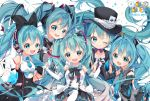 5girls ace_of_spades aqua_eyes aqua_hair arami_o_8 bare_shoulders black_bow bow bowtie card commentary detached_sleeves double-breasted english_commentary gloves hair_bow hair_ornament hand_holding hat hatsune_miku headphones headset long_hair looking_at_viewer magical_mirai_(vocaloid) multiple_girls multiple_persona necktie reaching_out shirt skirt sleeveless sleeveless_shirt smile sparkle symbol_commentary top_hat twintails very_long_hair vocaloid