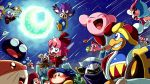 :d adeleine bandana_waddle_dee chuchu_(kirby) closed_eyes coo_(kirby) darkpot elline_(kirby) gooey grin jizo_yukari kine_(kirby) king_dedede kirby kirby_(series) magolor marx meta_knight moon nintendo open_mouth pitch_(kirby) ribbon_(kirby) rick_(kirby) shooting_star sky smile star_(sky) starry_sky taranza