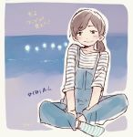 1girl :d between_legs blush brown_hair commentary_request fukagawa_mai hand_between_legs hashtag legs_crossed mole mole_above_mouth mole_under_mouth night nogizaka46 ocean open_mouth outline overalls ponytail real_life shirt short_sleeves sitting smile socks solo striped striped_legwear striped_shirt taneda_yuuta white_outline