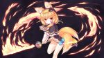 1girl animal_ears bangs black_background black_capelet black_headwear blue_bow blush bow brown_hair capelet closed_mouth commentary_request dress ears_through_headwear eyebrows_visible_through_hair fire flaming_sword flower_knight_girl fox_ears fox_girl fox_tail frilled_capelet frills hair_between_eyes hairband hat highres holding holding_sword holding_weapon hood hood_up hooded_capelet kitsune kitsune_no_botan_(flower_knight_girl) long_sleeves looking_at_viewer mini_hat mini_top_hat multiple_tails red_eyes sidelocks solo standing standing_on_one_leg sword tail tilted_headwear top_hat two_tails weapon white_dress yellow_hairband yuku_(kiollion)