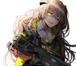 1girl armband bangs bruise_on_face collared_shirt crossed_bangs damaged dirty girls_frontline gloves gun h&k_ump45 hair_between_eyes hair_ornament headgear hood hood_down hooded_jacket jacket light_brown_hair long_hair looking_at_viewer mechanical_arm mod3_(girls_frontline) one-eyed one_side_up open_mouth scar scar_across_eye shirt sidelocks silence_girl simple_background smile torn_clothes trigger_discipline ump45_(girls_frontline) weapon white_background white_shirt yellow_eyes