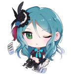 1girl aqua_hair arm_warmers bang_dream! black_feathers black_flower black_footwear black_ribbon blue_flower blue_neckwear boots brooch chibi feathers flower green_eyes hair_feathers hair_flower hair_ornament hikawa_sayo jewelry knee_boots kongya legs_crossed long_hair looking_at_viewer neck_ribbon one_eye_closed red_feathers ribbon sheet_music simple_background sitting solo white_background