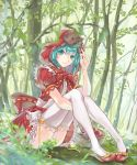 >_< 1girl adjusting_clothes adjusting_hat apple aqua_eyes aqua_hair basket bottle bow commentary cosplay dress dress_bow food frilled_dress frills fruit grapes hat hatsune_miku highres holding_legs little_red_riding_hood_(grimm) little_red_riding_hood_(grimm)_(cosplay) looking_at_viewer outdoors red_bow red_dress red_hood ribbon sitting smile solo sun_(sunsun28) thigh-highs tree vocaloid wolf yellow_ribbon