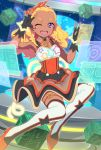 ;d amamiya_erena black_gloves blonde_hair braid commentary_request dark_skin detached_collar eyebrows fingerless_gloves full_body gloves hair_ribbon highres long_hair looking_at_viewer mole mole_under_eye one_eye_closed open_mouth orange_ribbon precure ribbon smile solo star star_twinkle_precure teeth thigh-highs twin_braids uganda violet_eyes white_legwear
