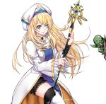 1girl black_shorts blonde_hair bloomers blue_eyes boots commission dress goblin goblin_slayer! green_skin holding holding_staff kaiend long_hair long_sleeves priestess_(goblin_slayer!) shorts simple_background solo_focus staff tabard thigh-highs thigh_boots underwear very_long_hair white_background white_dress white_headwear wide_sleeves