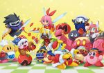 bandana_waddle_dee caprese_salad checkered checkered_floor chef_hat chef_kawasaki dark_matter darkpot food goggles gooey hat ice_cream jester_cap king_dedede kirby kirby's_dream_land kirby:_planet_robobot kirby_(series) magolor marx maxim_tomato meta_knight nintendo one_eye_closed plate ribbon_(kirby) robobot_armor smile susie_(kirby) sword taranza weapon