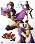 1girl boku_no_hero_academia bracer circlet cosplay crystal_ball fingerless_gloves gloves gorget highres jirou_kyouka kellzallday30 looking_at_viewer menat menat_(cosplay) multiple_views purple_hair short_hair signature simple_background street_fighter white_background