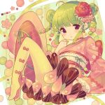 1girl :o absurdres ahoge bangs blush bow braid breasts commentary_request double_bun eyebrows_visible_through_hair flower full_body green_background green_hair hair_flower hair_ornament hand_up highres ikari_(aor3507) japanese_clothes kimono kimono_skirt knees_up long_sleeves looking_at_viewer mismatched_legwear no_shoes obi original panties parted_lips pink_flower pink_kimono red_bow red_eyes red_flower red_legwear sash side_bun sidelocks small_breasts solo twin_braids two-tone_background underwear white_background yellow_legwear