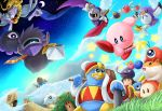 blue_sky clouds coo_(kirby) dark_matter darkpot gooey grass grin kine_(kirby) king_dedede kirby kirby's_dream_land kirby_(series) kracko meta_knight nightmare_(kirby) nintendo rick_(kirby) sky smile star star_(sky) star_rod waddle_dee waddle_doo whispy_woods