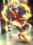 1girl black_legwear blue_eyes blue_hair book boots brown_footwear capelet dress fire fire_emblem fire_emblem:_fuuin_no_tsurugi fire_emblem_cipher full_body hat indoors lilina long_hair magic nintendo official_art open_mouth pantyhose red_headwear short_dress sleeveless smile solo tabard wada_sachiko watermark wrist_cuffs