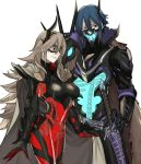 1boy 1girl absurdres blue_hair bone breastplate breasts cape closed_mouth domino_mask ebinku fire_emblem fire_emblem_heroes gauntlets grey_hair hair_between_eyes highres horns lif_(fire_emblem) long_hair mask nintendo red_eyes scabbard see-through sheath sheathed short_hair simple_background skeleton smile sword thrasir_(fire_emblem) weapon white_background