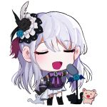 1girl :d animal arm_warmers bang_dream! bangs black_feathers black_flower black_ribbon blue_flower brooch cat chibi feathers flower full_body grey_hair hair_feathers hair_flower hair_ornament jewelry kongya long_hair microphone_stand minato_yukina music neck_ribbon open_mouth purple_feathers purple_neckwear ribbon simple_background singing smile solo standing u_u white_background white_feathers
