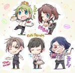 5boys :d ;d apron asselin_bb_ii bangs black_apron black_dress black_hair black_legwear black_neckwear black_pants black_vest blue_eyes blue_hair bow bowtie braid brown_eyes brown_hair cafe_parade cake chibi crossdressing cup dress eyepatch food green_hair group_name hair_ornament hair_scrunchie holding holding_plate holding_tray idolmaster idolmaster_side-m kamiya_yukihiro ladle leaning_forward long_hair looking_at_viewer macaron_background maid maid_headdress male_focus mizushima_saki multiple_boys one_eye_closed open_mouth pancake pants pantyhose pastry_bag pink_scrunchie plate polka_dot polka_dot_background purple_neckwear satan_(idolmaster) scrunchie shinonome_souichirou shirt side_braid smile standing standing_on_one_leg star star_hair_ornament table taneda_yuuta teacup trap tray twintails u_u uzuki_makio vest violet_eyes waist_apron waiter white_shirt