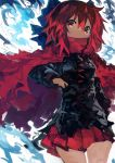 1girl absurdres black_shirt blue_bow bow cape commentary hair_bow highres kaamin_(mariarose753) long_sleeves looking_at_viewer miniskirt pleated_skirt red_cape red_eyes red_skirt redhead sekibanki shirt short_hair skirt solo touhou