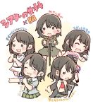 1girl :d ^_^ akb48 bangs black_hair black_jacket blue_shirt blush_stickers chibi clenched_hand closed_eyes closed_eyes commentary_request dress epaulettes green_neckwear green_skirt holding holding_microphone jacket jewelry long_hair microphone microphone_stand military military_uniform miniskirt mole mole_under_mouth multiple_views murayama_yuiri necklace necktie o_o open_mouth outstretched_arm pearl_necklace pleated_skirt real_life shirt short_sleeves skirt smile taneda_yuuta translation_request uniform white_dress