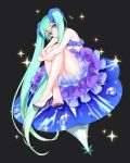 1girl absurdres alternate_costume aqua_hair bare_arms bare_legs bare_shoulders black_background blue_eyes blue_flower dew_drop dress eyebrows_visible_through_hair flower flower_request frilled_dress frills full_body hagehiro hatsune_miku head_tilt high_heels highres index_finger_raised legs_crossed long_hair looking_at_viewer open_toe_shoes simple_background sitting smile solo sparkle sparkle_background strapless thighs toenails twintails very_long_hair vocaloid water water_drop white_dress white_footwear