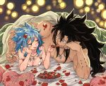 1boy 1girl :q bed_sheet black_hair blue_hair breasts brown_eyes cleavage couple fairy_tail food gajeel_redfox happy_valentine head_rest heart heart_pillow jewelry levy_mcgarden long_hair lying medium_breasts necklace nose_piercing off_shoulder on_back petals piercing pillow rusky sleeveless spiky_hair tongue tongue_out twitter_username under_covers upper_body