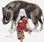 1girl 2019 animal bangs boar chinese_zodiac commentary_request floral_print highres hime_cut japanese_clothes kimono long_hair long_sleeves looking_at_viewer original oversized_animal parted_lips print_kimono shirone_(coxo_ii) simple_background solo very_long_hair white_background white_hair wide_sleeves year_of_the_pig