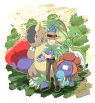 1boy closed_eyes creature creatures_(company) game_freak gen_1_pokemon gloom hanimaru_(pixiv29474374) holding holding_pokemon kangaskhan male_focus morino_(pokemon) nintendo oddish pokemon pokemon_(creature) pokemon_(game) pokemon_card_gb pokemon_on_head scyther squirtle straw_hat tree vileplume