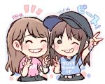 2girls ^_^ akb48 bangs black_headwear blue_shirt bracelet brown_hair cabbie_hat character_name chibi closed_eyes closed_eyes clothes_writing commentary_request double_v double_w grin hat jewelry katou_rena kizaki_yuria long_hair looking_at_viewer mole mole_under_mouth multiple_girls notice_lines pink_shirt real_life shirt short_sleeves smile t-shirt taneda_yuuta upper_body v v-shaped_eyebrows w