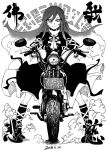 1girl black_footwear blackcat_(pixiv) boots cross-laced_clothes cross-laced_footwear dated dot_nose dress dust eyebrows greyscale ground_vehicle hair_between_eyes hijiri_byakuren juliet_sleeves knee_boots layered_dress license_plate long_hair long_sleeves looking_at_viewer monochrome motor_vehicle motorcycle praying puffy_sleeves smile sorcerer's_sutra_scroll touhou translation_request turtleneck_dress