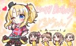 5girls :d ^_^ absurdres arm_up bangs belt belt_buckle black_bow black_hairband black_headwear black_legwear black_skirt blue_belt blue_eyes blush bow brown_eyes brown_hair buckle character_request closed_eyes closed_eyes closed_mouth eyebrows_visible_through_hair fang glowstick hair_between_eyes hair_bow hair_ornament hair_scrunchie hairband hand_on_own_face happy_birthday hat heart high_ponytail highres holding jako_(jakoo21) layered_skirt long_hair mini_hat mini_top_hat multiple_girls one_eye_closed open_mouth plaid plaid_bow plaid_shirt pleated_skirt red_bow red_scrunchie red_shirt scrunchie seishun_buta_yarou shirt short_sleeves side_ponytail skirt smile thigh-highs tilted_headwear top_hat toyohama_nodoka yellow_shirt