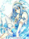 1girl aone_hiiro aqua_(fire_emblem_if) barefoot blue_hair blush dress elbow_gloves fire_emblem fire_emblem_heroes fire_emblem_if gloves hair_between_eyes hairband jewelry long_hair looking_at_viewer nintendo simple_background smile solo veil very_long_hair water yellow_eyes younger